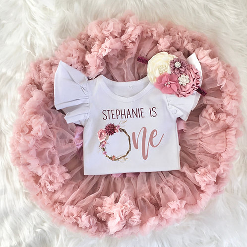 Personalized Floral Wreath 1st Birthday Girl Tutu Outfit