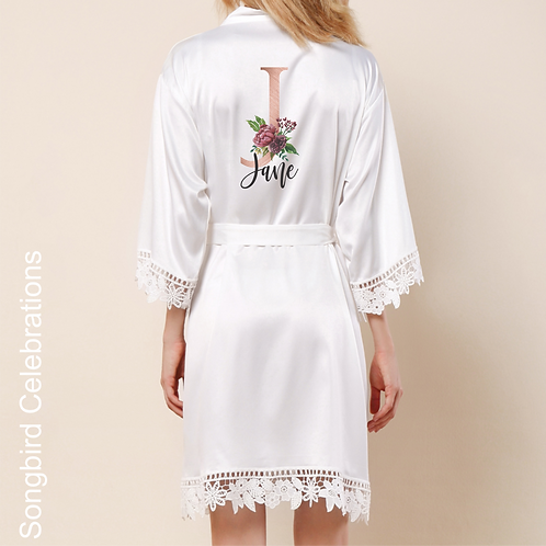 White Rose Gold Letter Satin & Lace Robe
