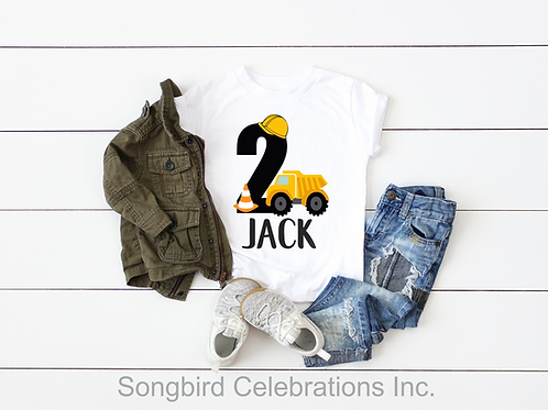 2nd Birthday Boy Construction Shirt