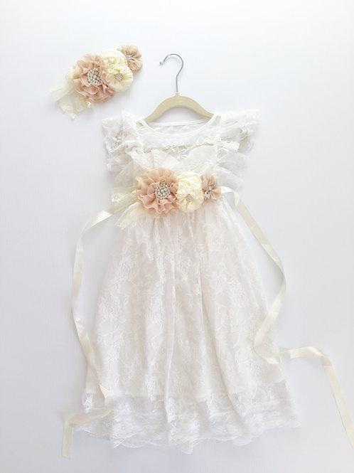 Flutter Sleeve Long Lace Flower Girl Dress