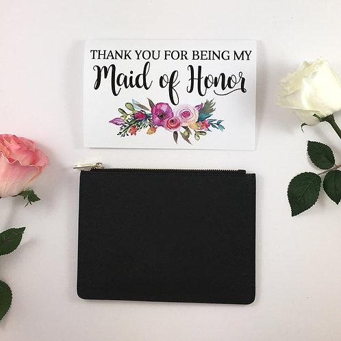 Lauren Saffiano Leather Clutch w/Greeting Card