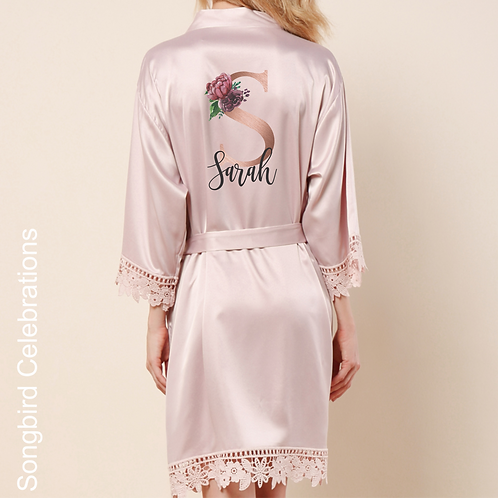 Nude Pink Rose Gold Letter Satin & Lace Robe