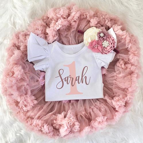Personalized Mauve + Blush Pink 1st Birthday Girl Tutu Outfit