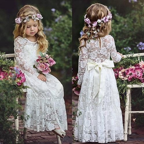 Long Sleeve Lace Flower Girl Dress