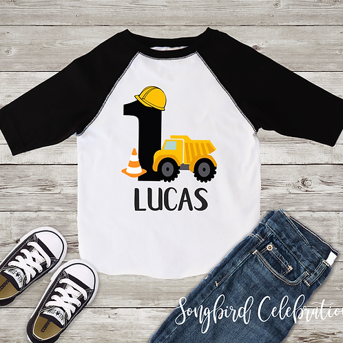 First Birthday Boy Construction Shirt
