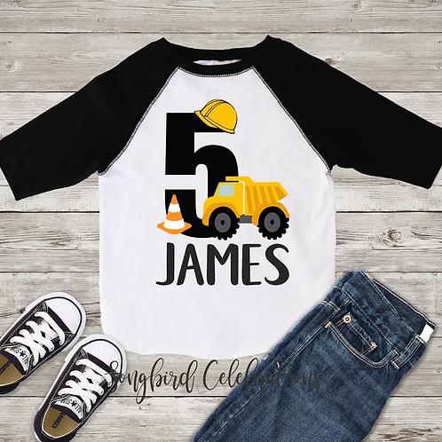 5th Birthday Boy Construction Shirt