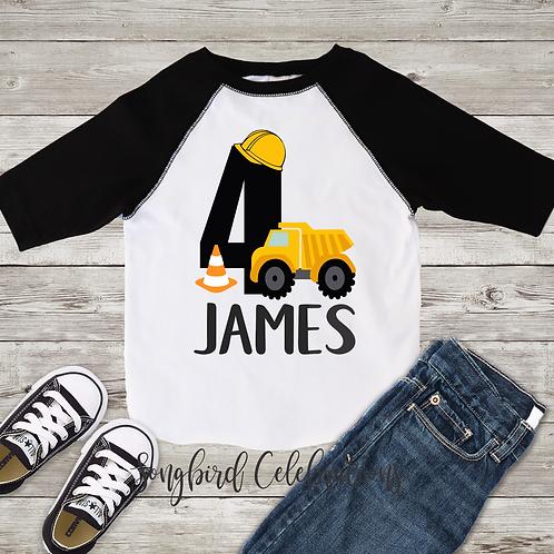 4th Birthday Boy Construction Shirt