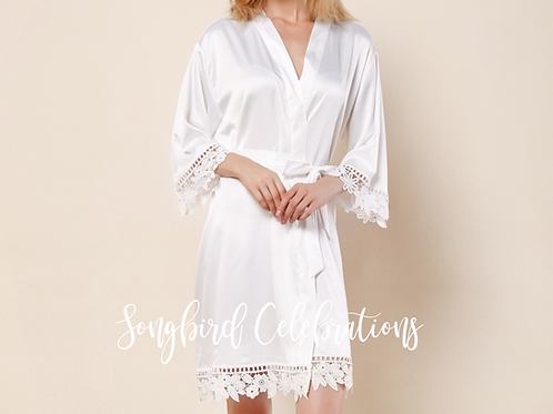White Romantic Satin & Lace Robe
