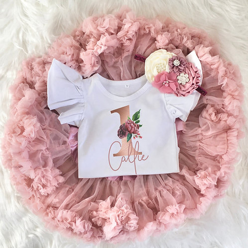 Personalized Rose Gold 1st Birthday Girl Tutu Outfit