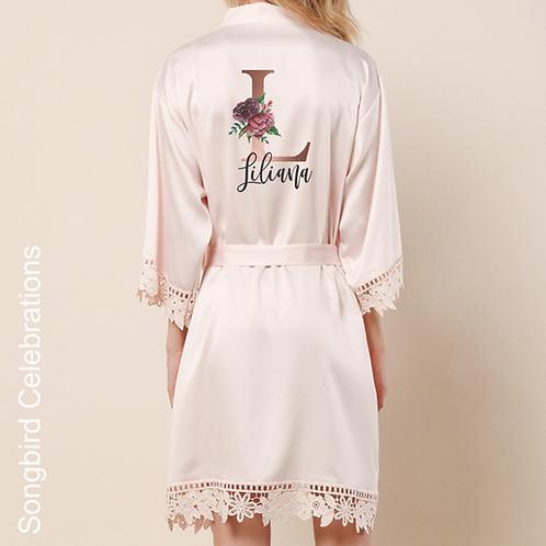 Blush Pink Rose Gold Letter Satin & Lace Robe