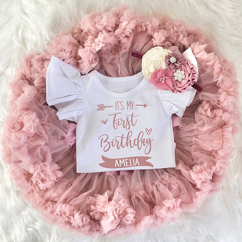 Personalized It's My 1st Birthday Baby Girl Tutu Outfit