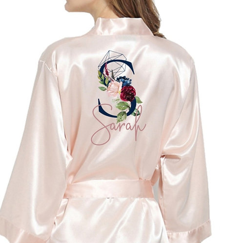 Olivia Blush Pink Navy & Mauve Personalized Satin Bridesmaid Robes