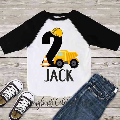 2nd Birthday Boy Construction Shirt
