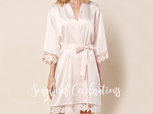 Blush Romantic Satin & Lace Robe