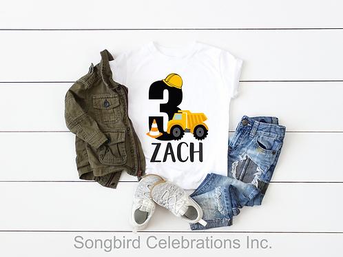 3rd Birthday Boy Construction Shirt