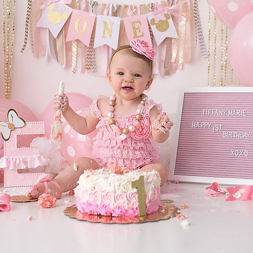 Pink & Gold Lace Romper Set