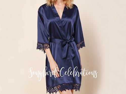 Navy Romantic Satin & Lace Robe