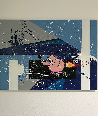 """Rocket-Pinky"" Canvas"