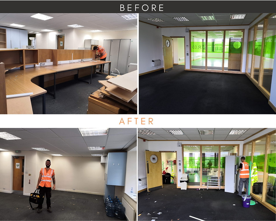 Rubbish clearance by Orange Clearance limited before and after pictures