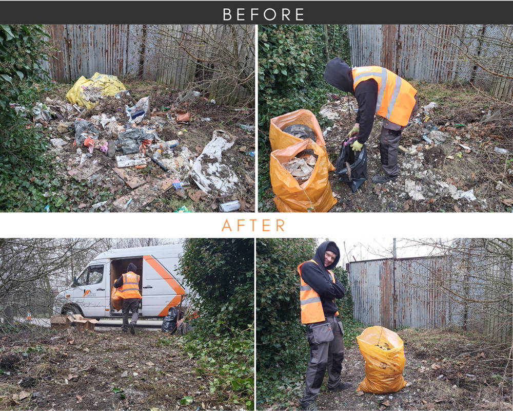 We have removed the rubbish have been fly-tipped at private land.
