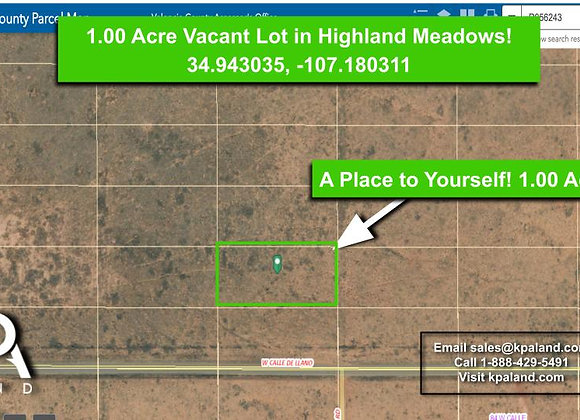 1 Acre Highland Meadows Lot!