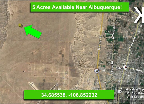 5 Acre Vacant Lot with Limited restrictions West of Belen, NM!