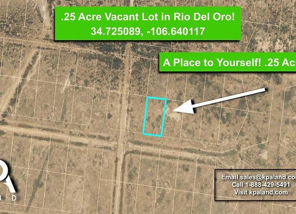 .25 Acre Vacant Lot for Sale in Valencia County, CO!