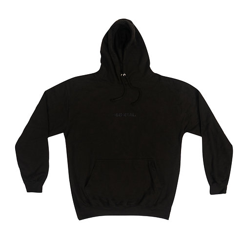 General Logo Embroidered Hoody - All Black