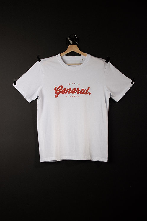 "White ""General"" Tee Red Logo"