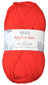 Crucci 8ply Soft Pure Wool MWash Chilli