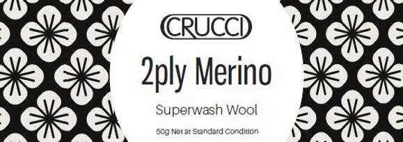 Crucci Baby 2ply Merino Superwash label.