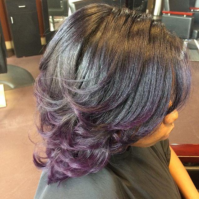 Purple Haze! #color #pravana #vivid #naturalhair #silkpress #healthyhair #innerbeauty