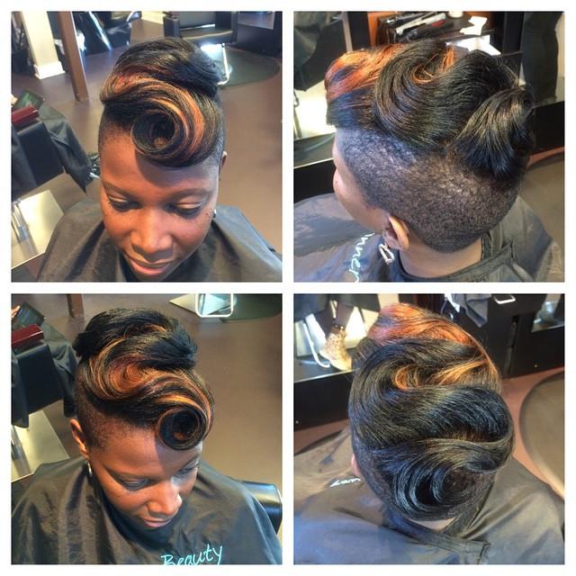 Just a little Christmas party hair!! #waves #shortcuts #color #pravana #mohawk #naturalhair #natural