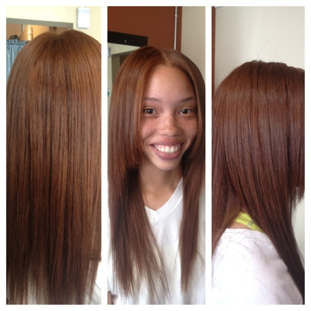 Partial sew in and weave color
