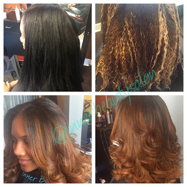 Before and after balayage color