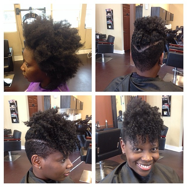We cutting up in here!! #naturalhair #teamnatural #healthyhair #shortcut #frohawk #officiallynatural
