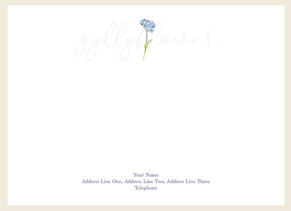 x25 Wildflower Forget-Me-Not Personalised Correspondence Card Set
