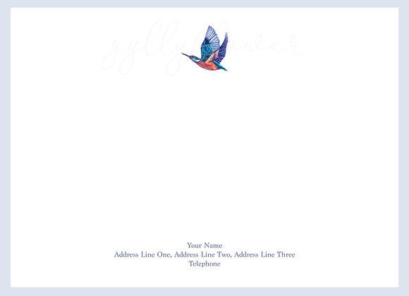 x25 Songbird Kingfisher Personalised Correspondence Card Set