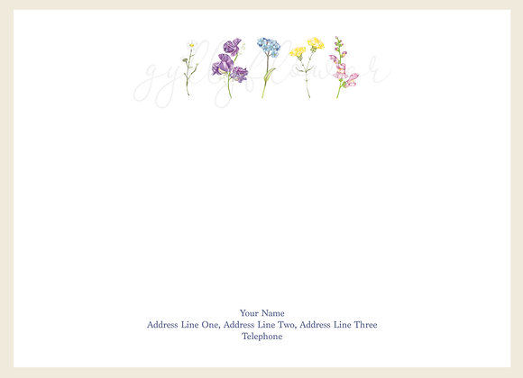 x25 Wildflower Bouquet Personalised Correspondence Card Set
