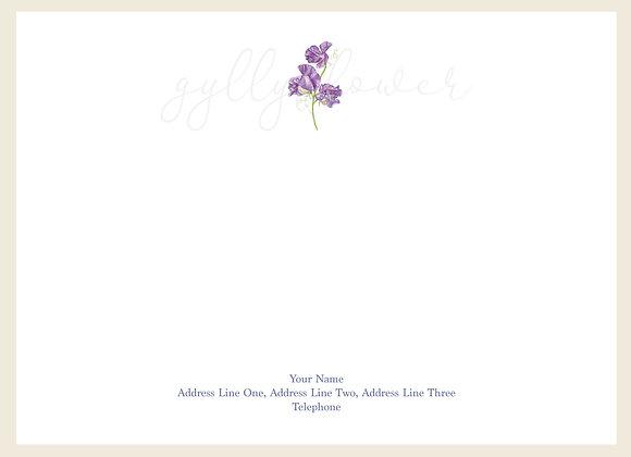 x25 Wildflower Sweet Pea Personalised Correspondence Card Set