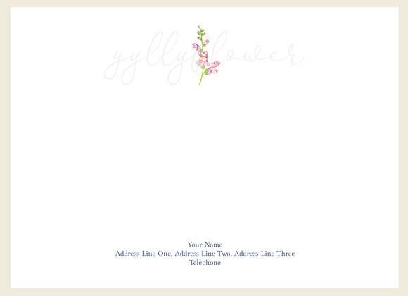 x25 Wildflower Snapdragon Personalised Correspondence Card Set