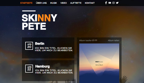 Alle Designvorlagen website templates – Rave-DJ
