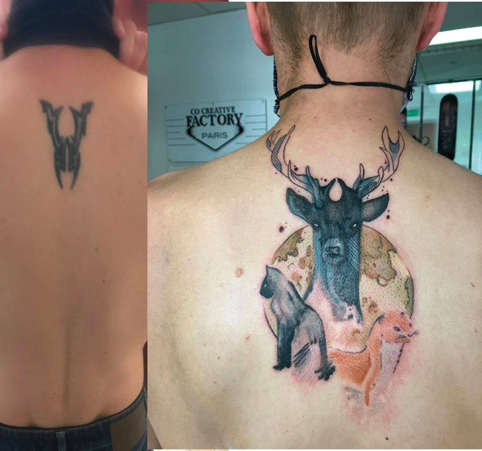 Recouvrement tatouage tribal tableau ani