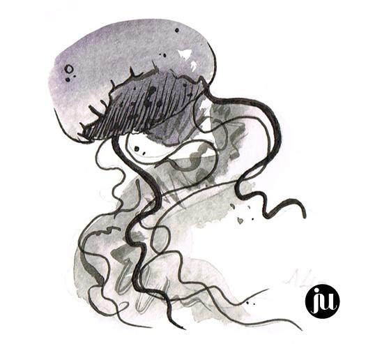 Tatouage méduse aquarelle