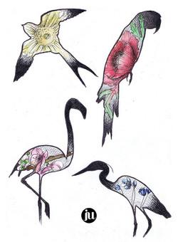 Tattoo flash oiseaux fleuris
