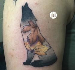 Tatouage loup aquarelle