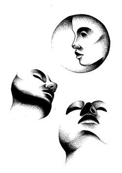 Planche de tattoo flash visage