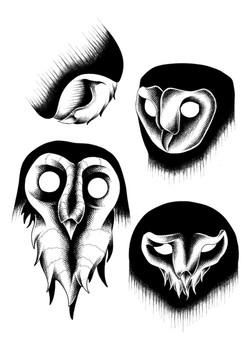 Tattoo Flash owls dot work