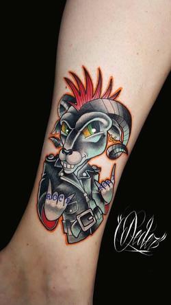 Tatouage New school bélier punk