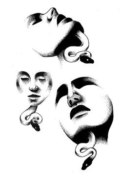 Planche de tattoo flash visages